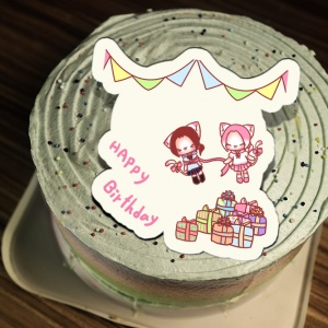 貓鈴 貓鈴,Happy Birthday   ( 圖案可以吃喔!) 手工彩虹水果蛋糕 ( 可勾不要冰淇淋, 也可勾要冰淇淋 ) [ designed by 貓鈴],