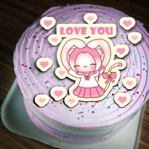 貓鈴 貓鈴,Love You ( 圖案可以吃喔!) 冰淇淋彩虹水果蛋糕 [ designed by 貓鈴],