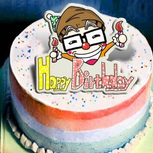 我們都是穿著超人裝的平凡人,生日快樂~~( 圖案可以吃喔!)冰淇淋彩虹水果蛋糕 [ designed by 我們都是穿著超人裝的平凡人],