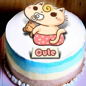 不屑貓 不屑貓,生日快樂,請吹熄我吧~~冰淇淋彩虹水果蛋糕  [ designed by 不屑貓 ],