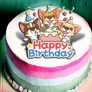 jcccjia@gmail.com,大慶祝~~( 圖案可以吃喔!)冰淇淋彩虹水果蛋糕 [ designed by 椪妹&柯基犬椪椪愛說畫],