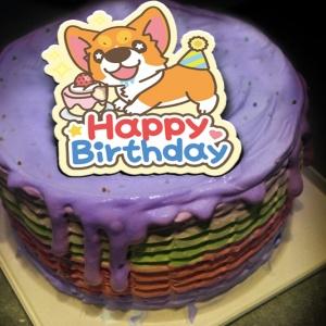 jcccjia@gmail.com,happy birthday~~ ( 圖案可以吃喔!) 手工彩虹水果蛋糕 ( 可勾不要冰淇淋, 也可勾要冰淇淋 ) [ designed by 椪妹&柯基犬椪椪愛說畫],