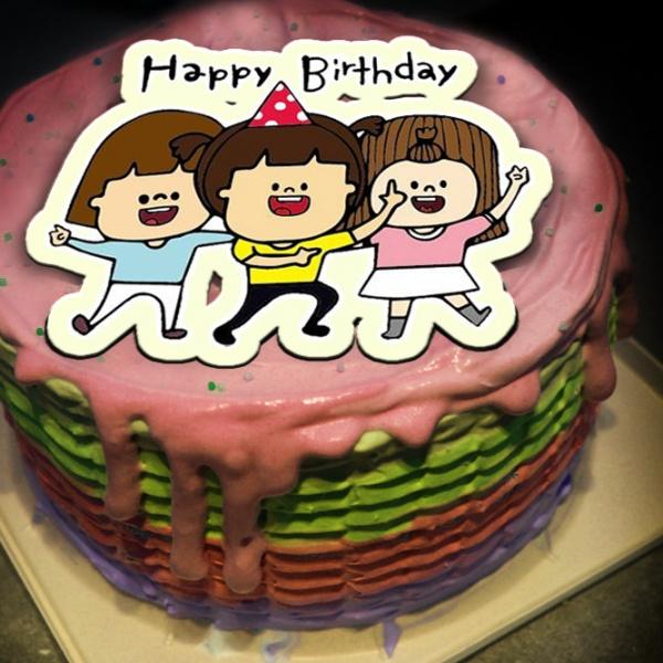 腳ㄚㄚ 腳ㄚㄚ,Happy Birthday~~ ( 圖案可以吃喔!)手工Semifreddo義大利彩虹水果蛋糕 (唯一可全台宅配冰淇淋蛋糕) ( 可勾不要冰淇淋, 也可勾要冰淇淋 ) [ designed by 腳ㄚㄚ],