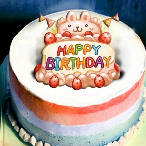 mrstina_design,生日快樂~~ ( 圖案可以吃喔!)冰淇淋彩虹水果蛋糕 [ designed by Mrs.Tina],