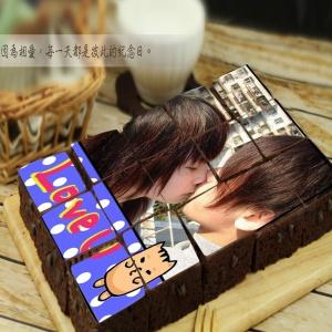虎喵&汪吉,愛你一輩子[客製化 × 插畫主題]拼圖手工布朗尼15入禮盒 ( 提供1張照片即可 ),