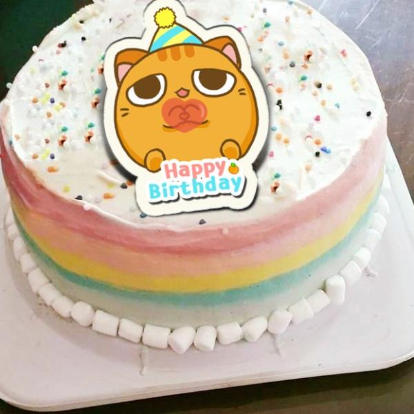 肉肉 ㅍㅅㅍ,Happy Birthday ( 圖案可以吃喔!)手工冰淇淋千層蛋糕 (唯一可全台宅配冰淇淋千層蛋糕) ( 可勾不要冰淇淋, 也可勾要冰淇淋 ) [ designed by 肉肉Rose],