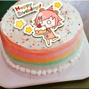 米血熊,Happy Birthday   ( 圖案可以吃喔!) 手工冰淇淋千層蛋糕 (唯一可全台宅配冰淇淋千層蛋糕) ( 可勾不要冰淇淋, 也可勾要冰淇淋 ) [ designed by 米血熊],