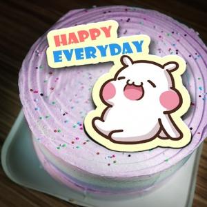 七筆兔 七筆兔,happy everyday~~ ( 圖案可以吃喔!)冰淇淋彩虹水果蛋糕 [ designed by 七筆兔],
