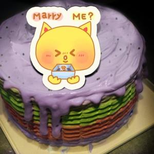 笨熊聯盟 笨熊聯盟,Marry me?  ( 圖案可以吃喔!) 冰淇淋彩虹水果蛋糕 [ designed by 笨熊聯盟],