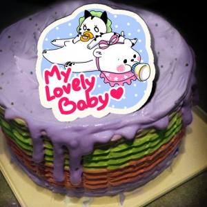 貝夏到了 貝夏到了,My Lovely Baby ( 圖案可以吃喔!) 冰淇淋彩虹水果蛋糕 [ designed by 貝夏到了],