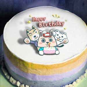 波卡多,快樂鳥日子 - Happy Birthday   ( 圖案可以吃喔!) 冰淇淋彩虹水果蛋糕 [ designed by 波卡多],