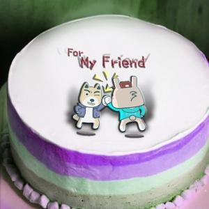 波卡多,情與義 值千金♫♩♬   ( 圖案可以吃喔!) 冰淇淋彩虹水果蛋糕 [ designed by 波卡多],