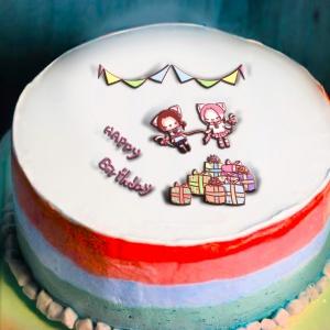貓鈴 貓鈴,Happy Birthday To You ♫♩♬  ( 圖案可以吃喔!) 冰淇淋彩虹水果蛋糕 [ designed by 貓鈴],