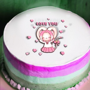 貓鈴 貓鈴,獻給我最愛的寶貝 ♥ Love You ( 圖案可以吃喔!) 冰淇淋彩虹水果蛋糕 [ designed by 貓鈴],