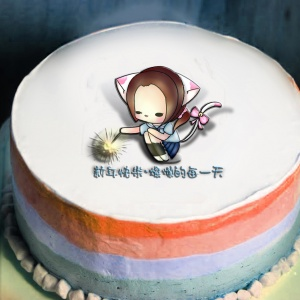 貓鈴 貓鈴,新年快樂 – 燦爛的每一天 ( 圖案可以吃喔!) 冰淇淋彩虹水果蛋糕 [ designed by 貓鈴],