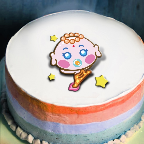 Sitara,寶寶祝你生日快樂   ( 圖案可以吃喔!) 冰淇淋彩虹水果蛋糕 [ designed by Sitara],