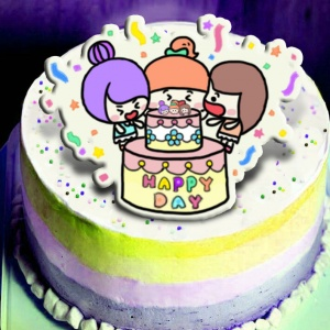 瓜瓜,happy day~~ ( 圖案可以吃喔!)冰淇淋彩虹水果蛋糕 [ designed by 家常變Fun],