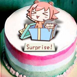 米血熊,Happy Birthday   ( 圖案可以吃喔!) 冰淇淋彩虹水果蛋糕 [ designed by 米血熊],
