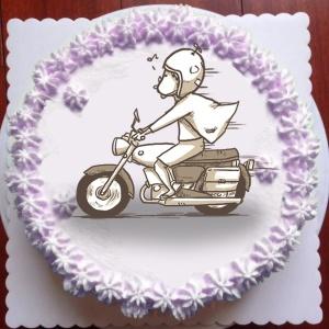 畫畫醫生 畫畫醫生,騎車( 圖案可以吃喔!)冰淇淋彩虹水果蛋糕 [ designed by 畫畫醫生],
