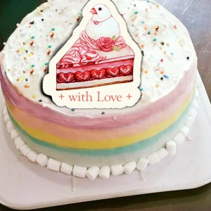 candy60932,With Love ♥  ( 圖案可以吃喔!) 手工Semifreddo義大利彩虹水果蛋糕 (唯一可全台宅配冰淇淋蛋糕) ( 可勾不要冰淇淋, 也可勾要冰淇淋 ) [ designed by Vanilla],