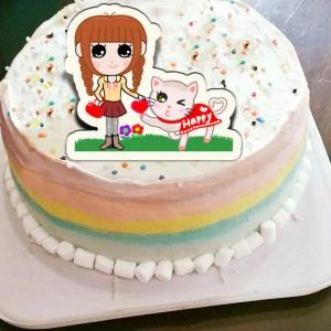 kimie a繪畫天地 kimie a繪畫天地,( 圖案可以吃喔!) 冰淇淋彩虹水果蛋糕 [ designed by Kimie a 繪畫天地 ],