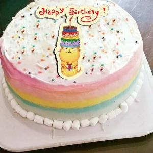 ORECAT我是貓,生日快樂~ ( 圖案可以吃喔!) 冰淇淋彩虹水果蛋糕 [ designed by ORECAT我是貓],
