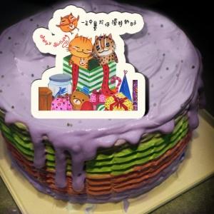 ORECAT我是貓,Happy Birthday ! ( 圖案可以吃喔!) 冰淇淋彩虹水果蛋糕 [ designed by ORECAT我是貓],
