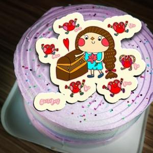 花大鼻小文青 花大鼻小文青,( 圖案可以吃喔!)冰淇淋彩虹水果蛋糕 [ designed by 花大鼻小文青],