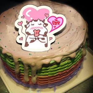 肥肥牛 ( 耀月 ),啾( 圖案可以吃喔!)冰淇淋彩虹水果蛋糕 [ designed by 肥牛牛(耀月) ],