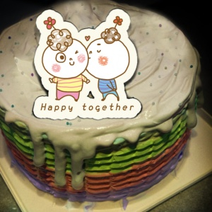 J.HO J.HO,happy together ( 圖案可以吃喔!) 手工Semifreddo義大利彩虹水果蛋糕 (唯一可全台宅配冰淇淋蛋糕) ( 可勾不要冰淇淋, 也可勾要冰淇淋 ) [ designed by J.HO ],