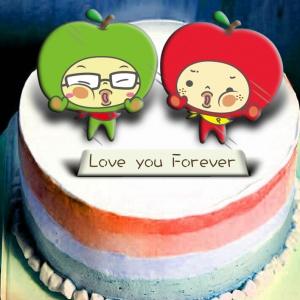 大蘋頭小蘋頭 大蘋頭小蘋頭,Love you Forever~~ ( 圖案可以吃喔!)冰淇淋彩虹水果蛋糕 [ designed by 大蘋頭小蘋頭 ],