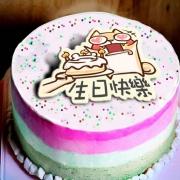 v80495277,生日快樂!  ( 圖案可以吃喔!) 冰淇淋彩虹水果蛋糕 [ designed by 柴柴斗哥 ],