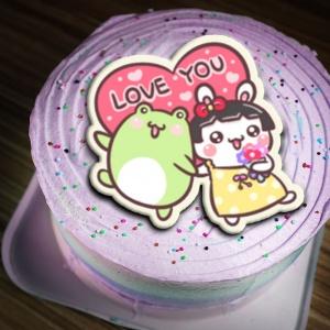 Honey Egg 多蜜兔,LOVE YOU!  ( 圖案可以吃喔!) 冰淇淋彩虹水果蛋糕 [ designed by Honey Egg 多蜜兔 ],