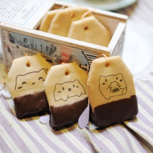 TATA啾戀喵,嘴饞系列 - 茶包巧克力餅乾 [ designed by TATA啾戀喵 ],漫漫手工甜點市集, PX, 插畫家, LINE, 插畫, 造型甜點, 造型蛋糕, 客製化, 零食