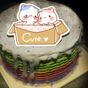 tinas22404752,陪著你~( 圖案可以吃喔!)手工冰淇淋彩虹水果蛋糕 (唯一可全台宅配冰淇淋蛋糕) ( 可勾不要冰淇淋, 也可勾要冰淇淋 ) [ designed by PinkCat小儀 ],