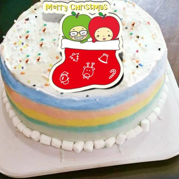 大蘋頭小蘋頭 大蘋頭小蘋頭,( 圖案可以吃喔!)手工彩虹水果蛋糕 ( 可勾不要冰淇淋, 也可勾要冰淇淋 ) [ designed by 大蘋頭小蘋頭 ],
