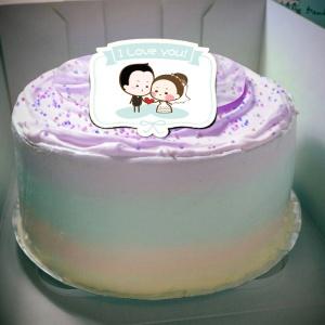 香游氏,I love you!( 圖案可以吃喔!) 手工彩虹水果蛋糕 ( 可勾不要冰淇淋, 也可勾要冰淇淋 ) [ designed by 香游氏 ],