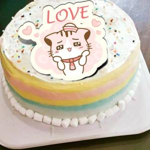 Lainie,LOVE( 圖案可以吃喔!)冰淇淋彩虹水果蛋糕 [ designed by 哈妮貓 ],