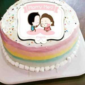 香游氏,Marry me( 圖案可以吃喔!) 冰淇淋彩虹水果蛋糕 [ designed by 香游氏 ],