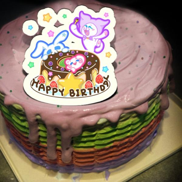 Sitara,Happy Birthday( 圖案可以吃喔!) 冰淇淋彩虹水果蛋糕 [ designed by Sitara],