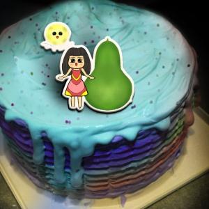 草莓,中秋節快樂_( 圖案可以吃喔!)手工冰淇淋蛋糕 (唯一可全台宅配冰淇淋蛋糕) ( 可勾不要冰淇淋, 也可勾要冰淇淋 ) [ designed by 草莓幸福畫小館 ],