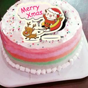 Lainie,聖誕節快樂_( 圖案可以吃喔!)手工Semifreddo義大利彩虹水果蛋糕 (唯一可全台宅配冰淇淋蛋糕) ( 可勾不要冰淇淋, 也可勾要冰淇淋 ) [ designed by 哈妮貓 ],