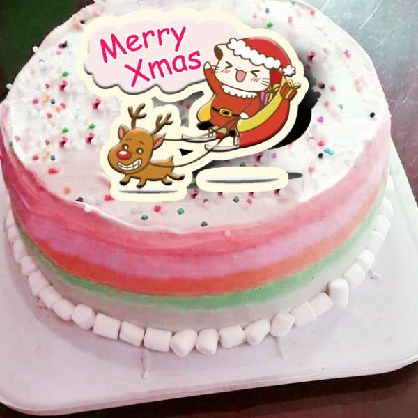Lainie,聖誕節快樂_( 圖案可以吃喔!)手工冰淇淋彩虹水果蛋糕 (唯一可全台宅配冰淇淋蛋糕) ( 可勾不要冰淇淋, 也可勾要冰淇淋 ) [ designed by 哈妮貓 ],