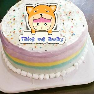 粉紅QQ妹,帶走柴柴~( 圖案可以吃喔!) 手工冰淇淋彩虹水果蛋糕 (唯一可全台宅配冰淇淋蛋糕) ( 可勾不要冰淇淋, 也可勾要冰淇淋 ) [ designed by 粉紅QQ妹 ],