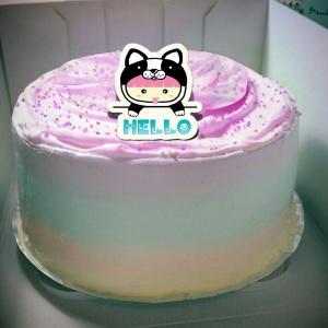 粉紅QQ妹,我是小狗狗~( 圖案可以吃喔!) 手工冰淇淋彩虹水果蛋糕 (唯一可全台宅配冰淇淋蛋糕) ( 可勾不要冰淇淋, 也可勾要冰淇淋 ) [ designed by 粉紅QQ妹 ],