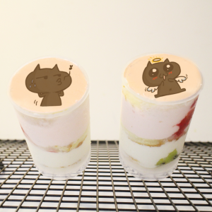 blackcatgodru,飛貓 ( 圖案可以吃喔 ) 手工彩虹水果蛋糕__推推筒系列 ( 可勾不要冰淇淋, or 要冰淇淋 )(或名推推杯, 類似杯子蛋糕) [ designed by 噓,我只是一隻愛說話的肥貓 ],
