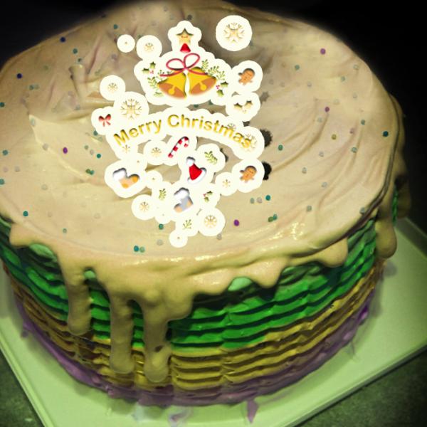 chieko0627,聖誕節快樂 ( 圖案可以吃喔!) 手工冰淇淋彩虹水果蛋糕 (唯一可全台宅配冰淇淋蛋糕) ( 可勾不要冰淇淋, 也可勾要冰淇淋 ) [ designed by 千梔子 Chi E Ko Studio ],