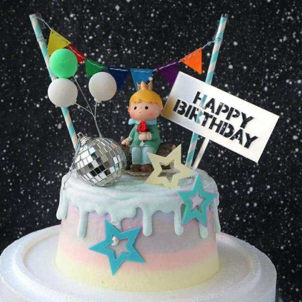 susan susan,這不是翻糖因翻糖不好吃__小王子星球 (附上小王子、派對拉旗、氣球、鑽石、生日插件等飾品 造型不定期調整*。.) (唯一可宅配冰淇淋蛋糕#,也可不做冰淇淋 )...  ....(裝飾品為贈品不得轉售..平均哈根達斯蛋糕熱量的1/5台灣蛋糕的1/4)),
