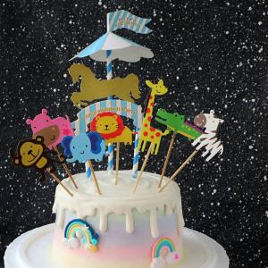 susan susan,冰淇淋裝飾水果蛋糕__動物派對 ( 附贈動物派對插旗、旋轉木馬插旗    ) (唯一可全台宅配冰淇淋蛋糕) ( 可勾不做冰淇淋、也可做冰淇淋),