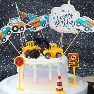 怪手, 工程車, 裝飾蛋糕, 冰淇淋蛋糕, Dessert365, PX 漫漫手工甜點市集, 手工甜點, 冰淇淋蛋糕, 與手工甜點對話的Susan, 插畫, 客製化